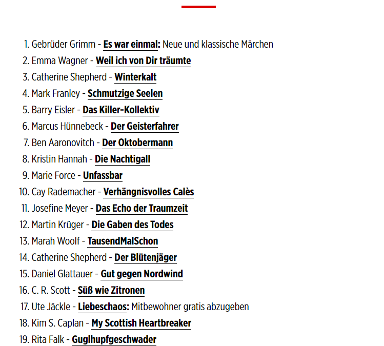 Outrageous is a Bestseller in Germany